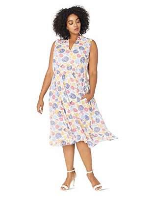 Anne Klein Women's Size Plus Lined Drawstring MIDI Dress
