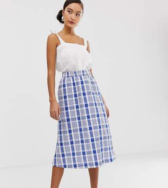 Monki farm check midi skirt in blue and white