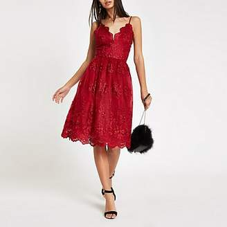 River Island Chi Chi London red lace floral prom dress