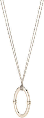 Lauren Ralph Lauren Silver-Tone Oval Pendant & Chain-Link Necklace