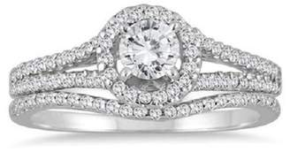 Smjewels 7/8 Ct Tw Diamond Halo Engagement Ring Bridal Set 14k Gold Fn 925 Silver