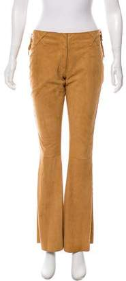 Dolce & Gabbana Mid-Rise Suede Leather Pants