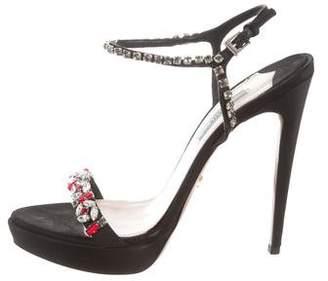 Prada Satin Crystal Embellished Sandals