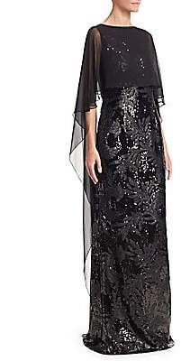 Teri Jon by Rickie Freeman by Rickie Freeman Women's Chiffon Overlay Sequined Gown