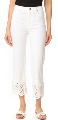 La Vie Rebecca Taylor Eyelet High Rise Straight Jeans $275 thestylecure.com