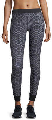 Monreal London Athlete Silver Reptile Ankle-Length Compression Leggings