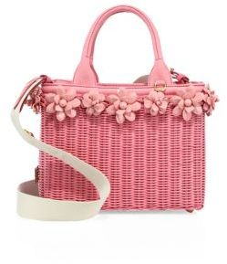 Prada Midollino Floral-Embellished Wicker & Canvas Tote $1,730 thestylecure.com