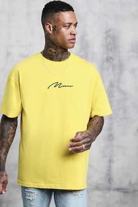boohoo Oversized Man Signature Embroidered T-Shirt