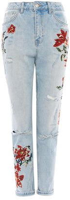 Topshop Moto flower embroidered mom jeans
