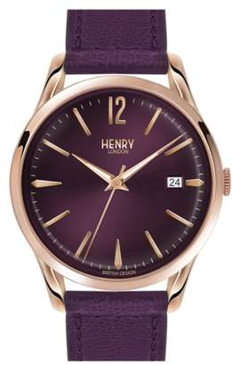 Henry London 'Hampstead' Leather Strap Watch, 39mm