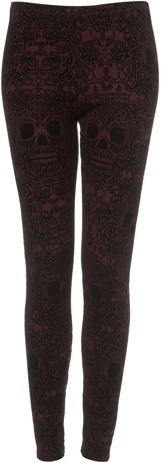 Burgundy Flocked Skull Leggings