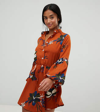 Parisian Petite floral print colarless shirt dress