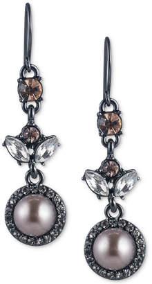 Carolee Hematite-Tone Crystal & Gray Imitation Pearl Drop Earrings