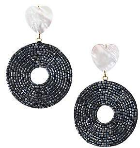 Lizzie Fortunato Women's Starlet 18K Goldplated Mother-Of-Pearl Beaded Disc Drop Earrings