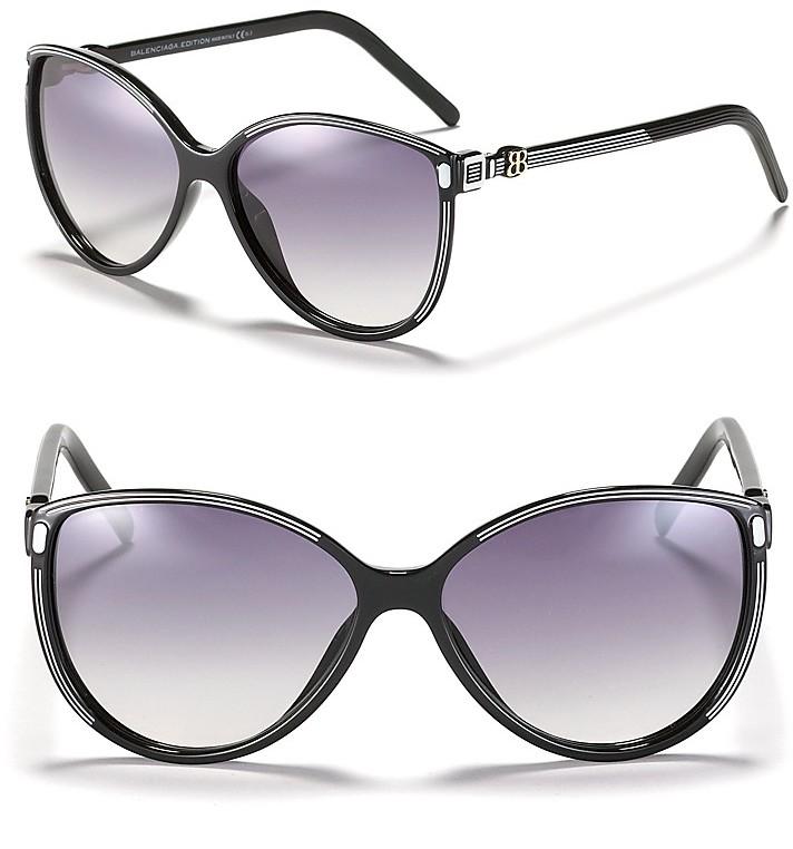 Balenciaga Oversized Cat Eye Stripe Sunglasses