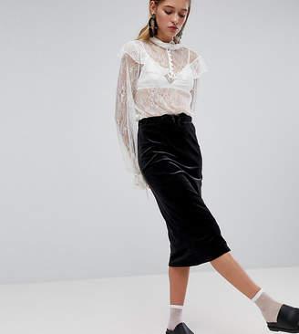 Monki Ribbed Velvet Midi Skirt
