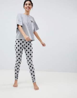 Asos Design Frenchie Pocket Tee and Legging Pajama Set