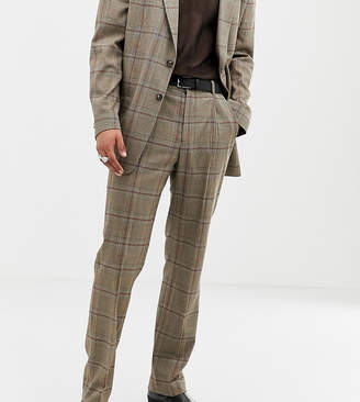 Collusion COLLUSION Tall suit pants in brown window pane check