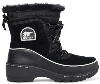 Sorel Torino Faux Fur-trimmed Waterproof Suede, Shell And Leather Ankle Boots - Black