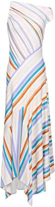 Peter Pilotto Off-the-shoulder Striped Ponte Maxi Dress