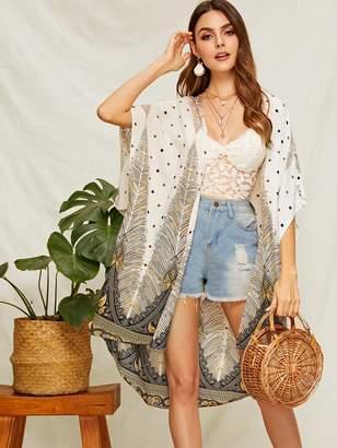 Shein Polka-dot & Feather Print Kimono