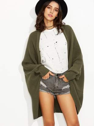 Shein Olive Green Shawl Collar Open Front Cocoon Cardigan