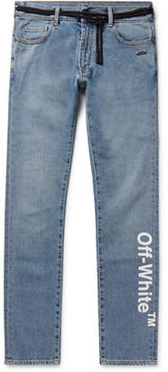 Off-White Skinny-Fit Printed Stretch-Denim Jeans