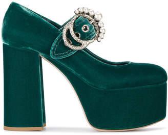 Green Velvet Platform 130 Mary Jane Heels