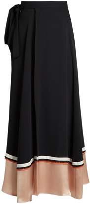 Roksanda Leif contrast-panel silk-blend crepe skirt