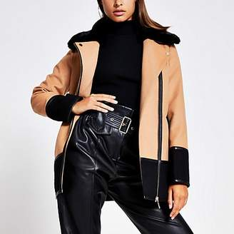 River Island Camel colour blocked faux fur collar coat