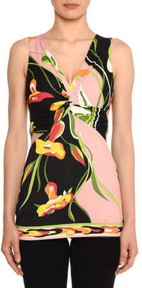 Emilio Pucci Twisted-Bodice Sleeveless Water Lily Print Top