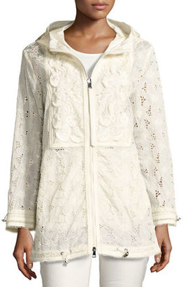 Moncler Madeleine Hooded Floral Lace Jacket $1,330 thestylecure.com