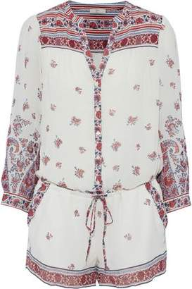 Joie Perine Printed Silk Crepe De Chine Playsuit