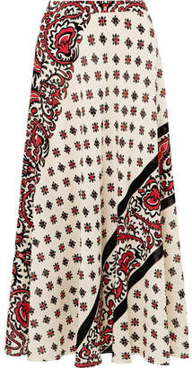 RED Valentino Printed Silk Midi Skirt - Ivory