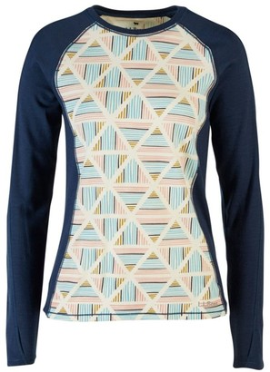 L.L. Bean L.L.Bean Women's Cresta Wool Midweight Base Layer Crew, Print