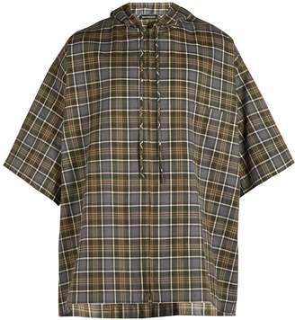 Balenciaga Hooded short-sleeved plaid shirt