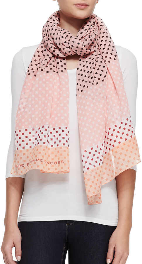 Marc by Marc Jacobs Block-Print Cotton Scarf, Pink/Multicolor