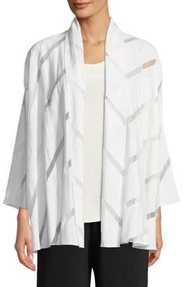 Caroline Rose White Out Burnout Midi Cardigan, Plus Size