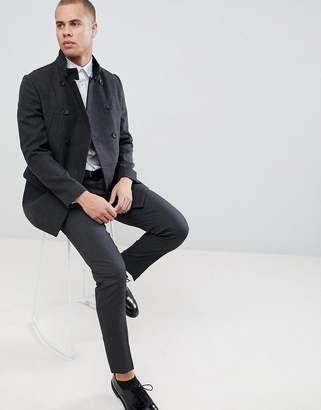 New Look wool military coat in dark gray