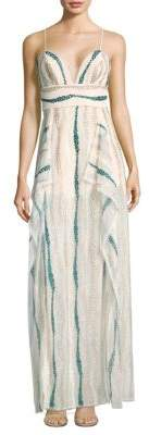 BCBGMAXAZRIA Shimmer Embellished Maxi Dress