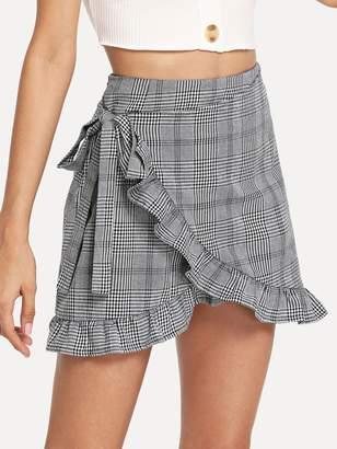 Shein Frill Trim Knot Side Plaid Wrap Skirt