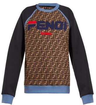 05e5ed11b110 Fendi Mania Logo Print Cotton Sweatshirt - Womens - Blue Multi
