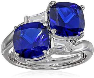 Kenneth Jay Lane CZ by Trend 6CTTW Cushion Double with Baguette Sapphire One Size Ring