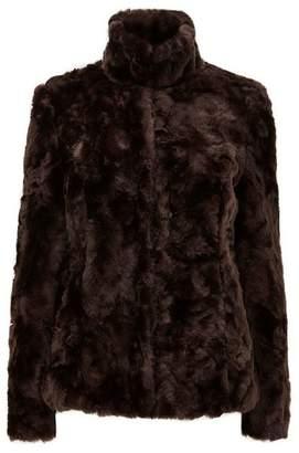Wallis Brown Faux Fur Short Funnel Coat