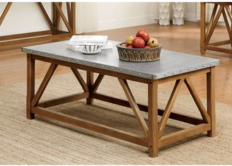 Furniture of America Josey Industrial Coffee Table, Natural Tone