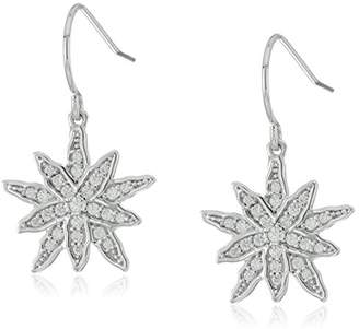 Platinum-Plated Sterling Silver Whimsical Star Fish Hook Earrings