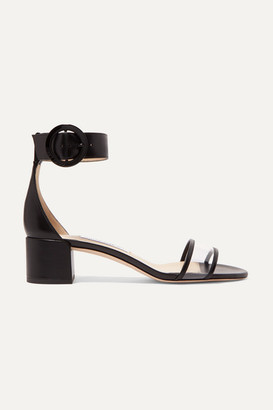 Jimmy Choo Jaimie 40 Leather And Pvc Sandals - Black