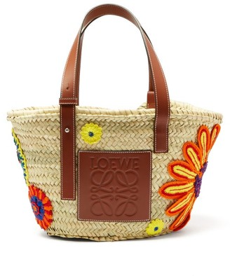 Loewe Floral Crocheted Medium Woven Basket Bag - Womens - Tan Multi