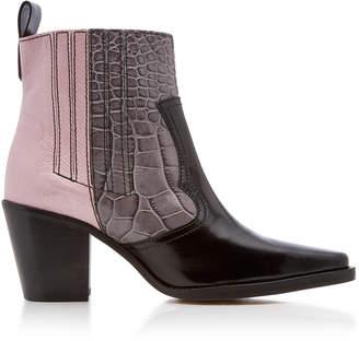 Ganni Croc-Effect Patent Leather Boots