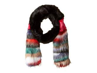 Steve Madden Mixed Patch Faux Fur Stole with Striped Ends